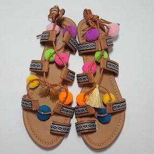 NEW Firenze Multi-Color Pom Pom Lace-Up Sandals